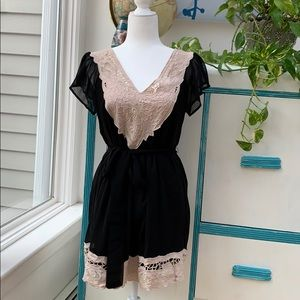 Black Pink Lace Dress, Tulle Dress, Women's Size S